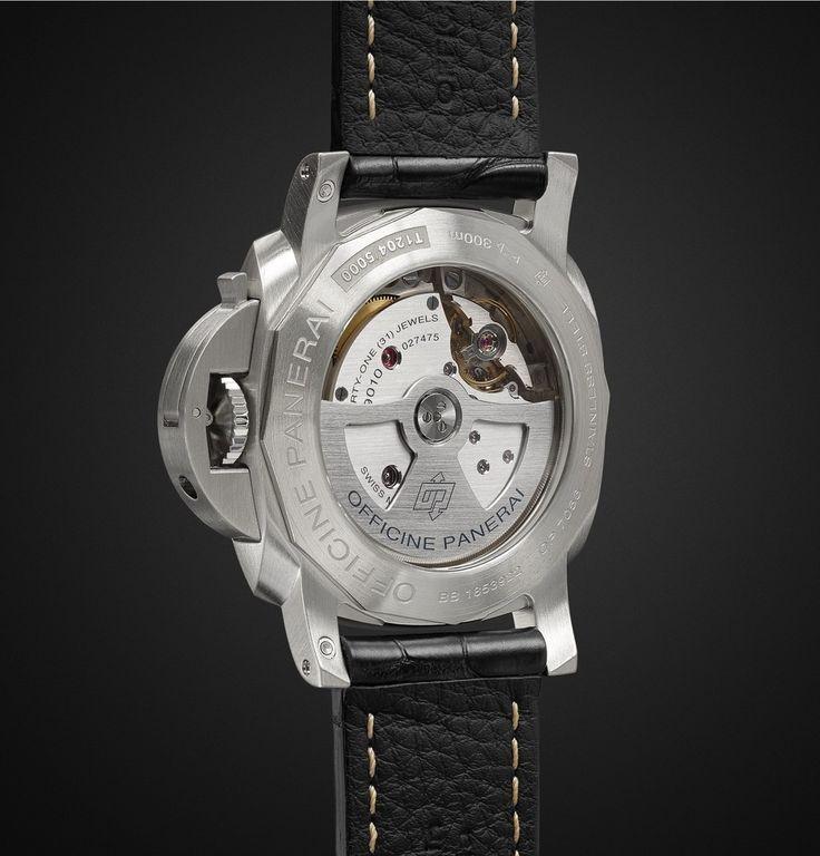 OFFICINE PANERAI Luminor Marina 1950 3 Days Acciaio 44mm Stainless Steel And Alligator Watch caseback and strap