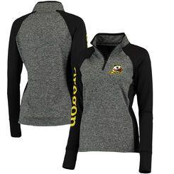 Oregon Ducks Women's Finalist Quarter-Zip Pullover Jacket - Gray/Black
