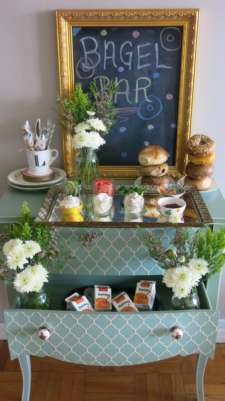 Love the Idea of using the drawers - bagel bar for the bridesmaids and groomsmen while getting ready!