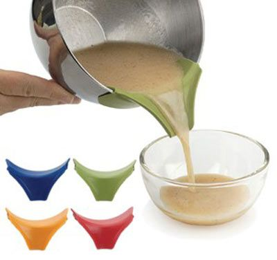 Slip on silicone pour spout...if it doesn't have a spout, I have a tendency to spill it.  Now I have a solution! #kitchen #gadgets