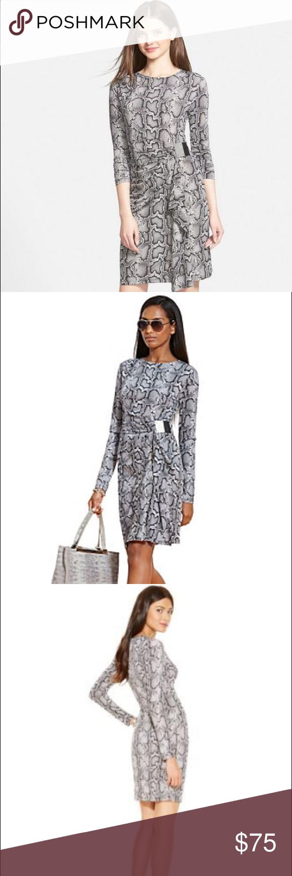 """NWOT Michael Kors """"Cobra"""" Print Dreas New MICHAEL Michael Kors Cobra print dress. The buckle gathers the silhouette for a figure defining faux-wrap. Very polished and classic look! Hidden back-zip closure. Brand new and has not been worn. I am usually a Small or 2 and this size fit me well when I tried it! Michael Kors Dresses Long Sleeve"""