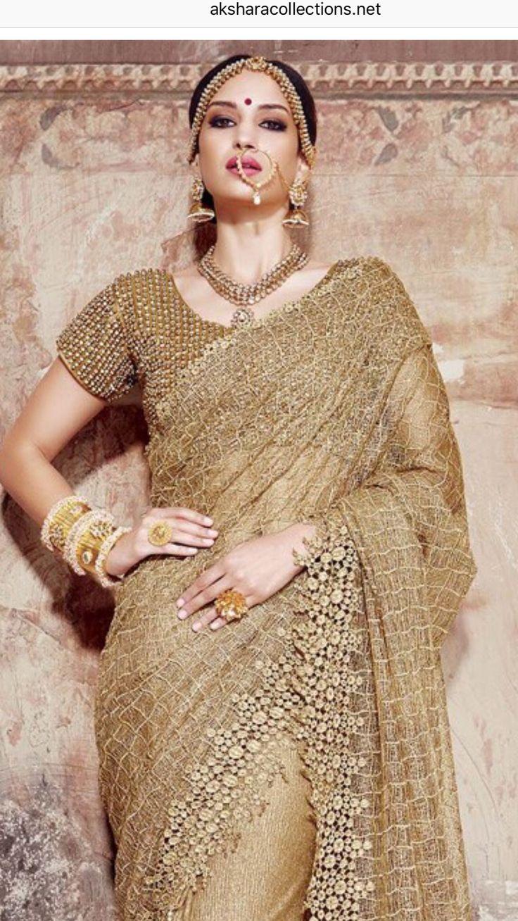 Golden net saree