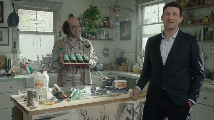 With DirecTV, he's five-interceptions-in-two-different-games Tony Romo. With cable, he's arts-and-crafts Tony Romo who bakes brownie cupcakes. We're not sure what this ad is getting at.