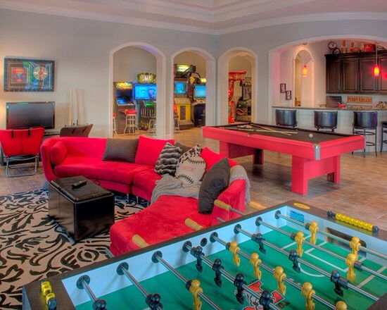 Gameroom Ideas, Basement Ideas, Basement Game Rooms, Basement Bars,  Traditional Family Rooms, Entertainment Room, Rec Rooms, Bright Colors, The  Bright