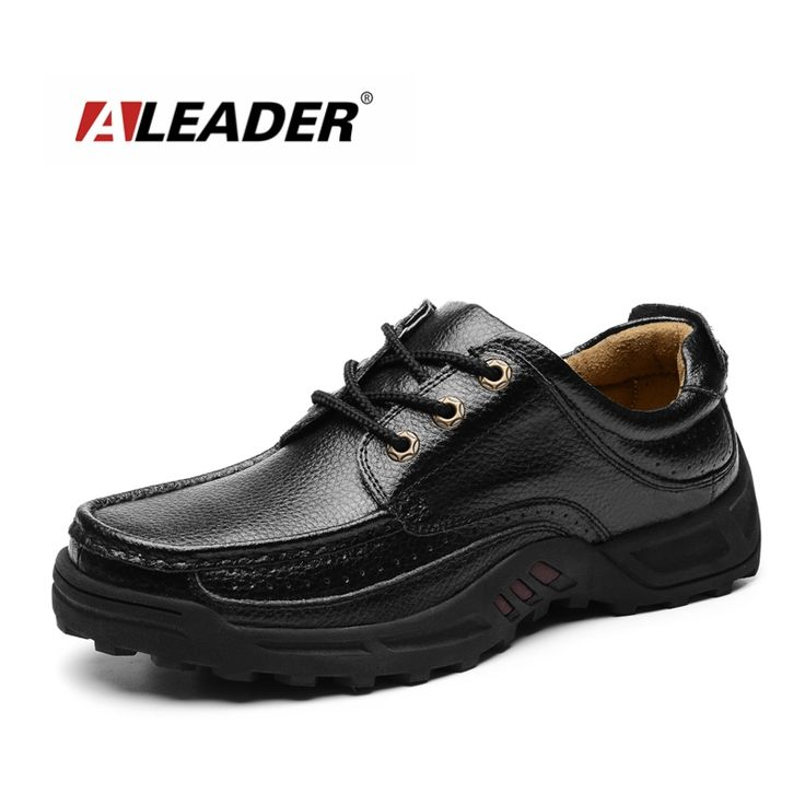 Aleader 2016 Outdoor Casual Shoes Mens Genuine Leather Dress Shoes Autumn  Spring Walking Shoes for Men Leather Oxfords male flat aa631a528d70