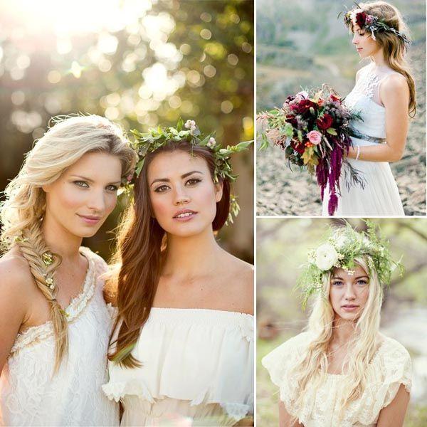 Boho Hochzeit Braut Fashionk Brautfrisur Blume im Haar Hochzeit Brautfrisur Style: Romantische Blume im Haar