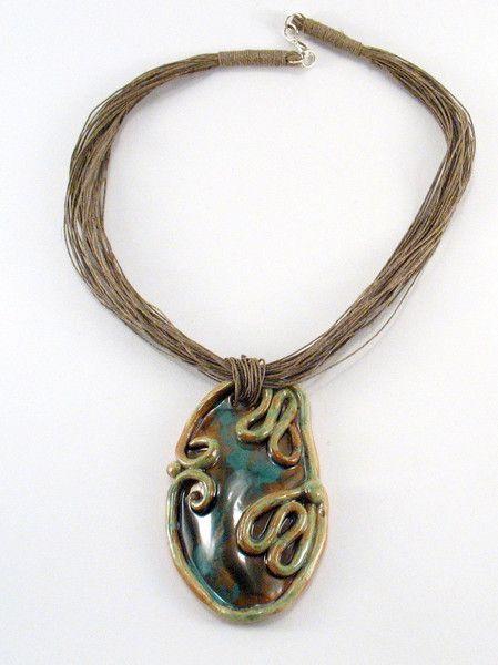 Ceramic Neckalces – Ceramic necklace, Necklace linen with ceramics – a unique product by Zielonepalce on DaWanda