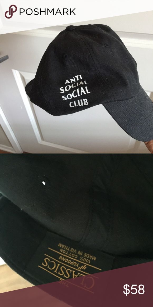 NEW, AUTHENTIC Antisocial social club hat Tried on, still new, authentic assc black cap, a little fuzzies from being in my closet, tagging for exposure!! UNIF Accessories Hats