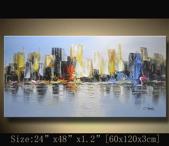 Original pintura abstracta, pintura moderna textura, paisaje urbano de espátula, Home Decor, pintura al óleo sobre lienzo de Chen 1024