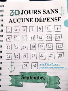 30 jours sans aucune dépense calendrier septembre