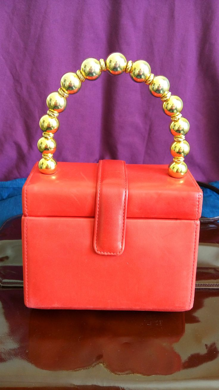 Red handbag Harvey Nichols made in Italy by MrsOldSchoolShop on Etsy