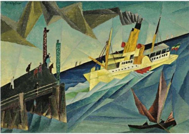 Lyonel Feiniger (1871 - 1956), Raddampfer am Landungssteg.