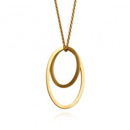 Graphic Pendant - Handcrafted Danish Design. In 18-karat gold, Ditte Stepnicka's triumph in design and simplicity, her Graphic pendant necklace, is absolutely stunning. Two ovals, in contrasting sizes, are interlocked, hanging from a delicate gold chain. They move and shift freely, sometimes sitting flush and sometimes at an angle, giving this gorgeous necklace a unique and multi-dimensional appeal. Wear it for any occasion, either formal or casual…