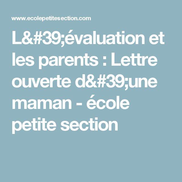L'évaluation et les parents : Lettre ouverte d'une maman - école petite section