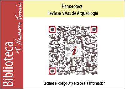 Hemeroteca: Código QR de acceso a la colección de revistas vivas de Arqueología, de la Biblioteca Tomás Navarro Tomás.