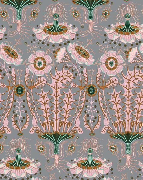 Wallpaper Equinoxe £155.00 £129.17 VAT 0% Modern take on a romantic damask pattern, Equinoxe pattern shows pink flowers floating like jellyfish in elegant dusty pink tones. Roll size: 70 cm wide 10 meters long. Repeat size: 131cm Colours: Pale pink, grey, copper, green Paper: Uncoated non woven