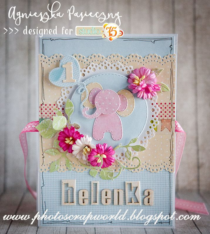 Beautiful mini album leporello for a baby girl made with Studio75 Primo collection.