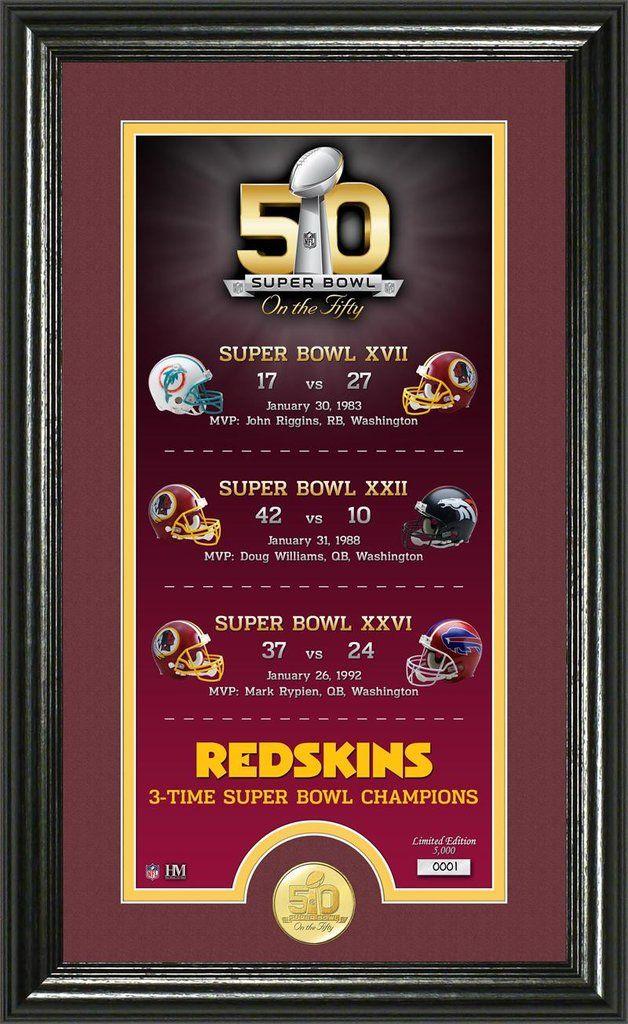 Washington Redskins Super Bowl 50th Anniversary Bronze Coin Supreme Photo Mint