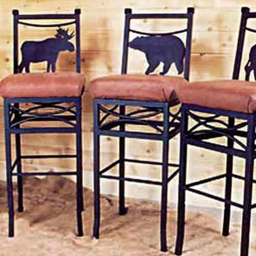 Mountain Lodge Decor | ... Bar Chairs by Frontier Ironworks at Rocky Mountain Cabin Decor
