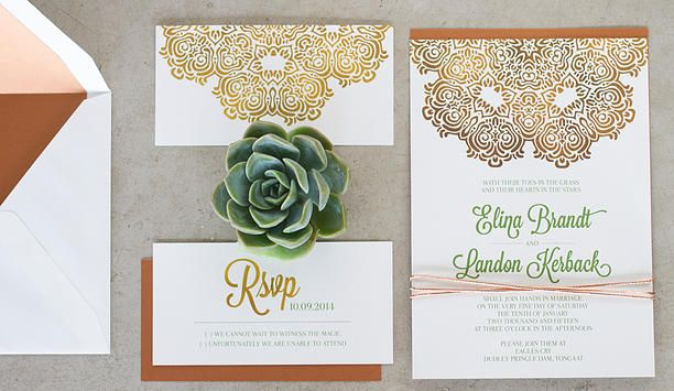 Leo and Ness | Wedding Invitation | Styled Shoot - Copper Green + White