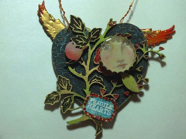 Calico Craft Parts: Fragile Hearts - Valentine's Day Plaque by Julie Ann.