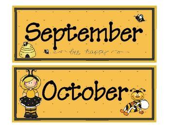 Bee Theme Calendar Months Classroom
