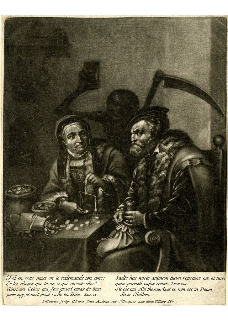 Jacques Meheux: Parable of the rich fool | Mezzotint made by Jacques Meheux, and Published by Girard Audran, Paris, France, 1660-1703.
