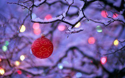 壁紙をダウンロードする 冬, ツリー, クリスマスの玩具