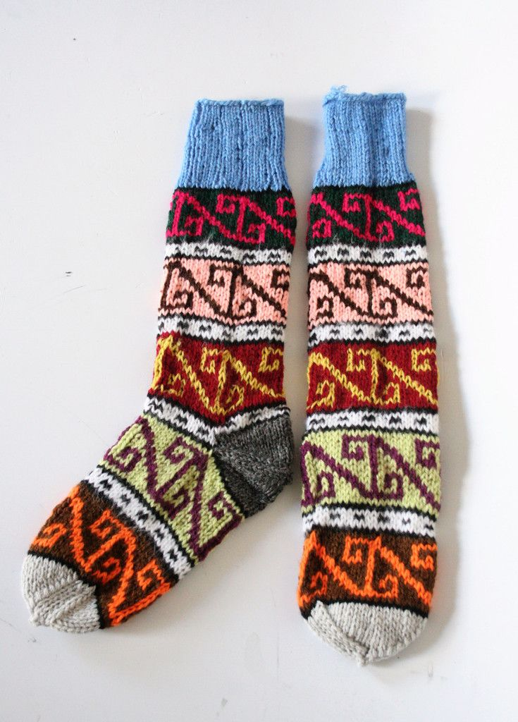 Hand Knitted Colourful Traditional Turkish Socks