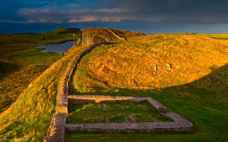 Hadrian's Wall with one of the ruins of a guard post - stationed at every mile for the entire length of the wall - wow!!