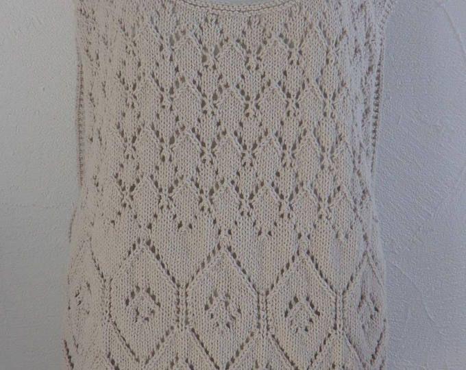 Poncho - Tunique avec franges - Femme - En coton - Motifs fantaisie ajourés - Taille 38 à 42 - Tricoté à la main