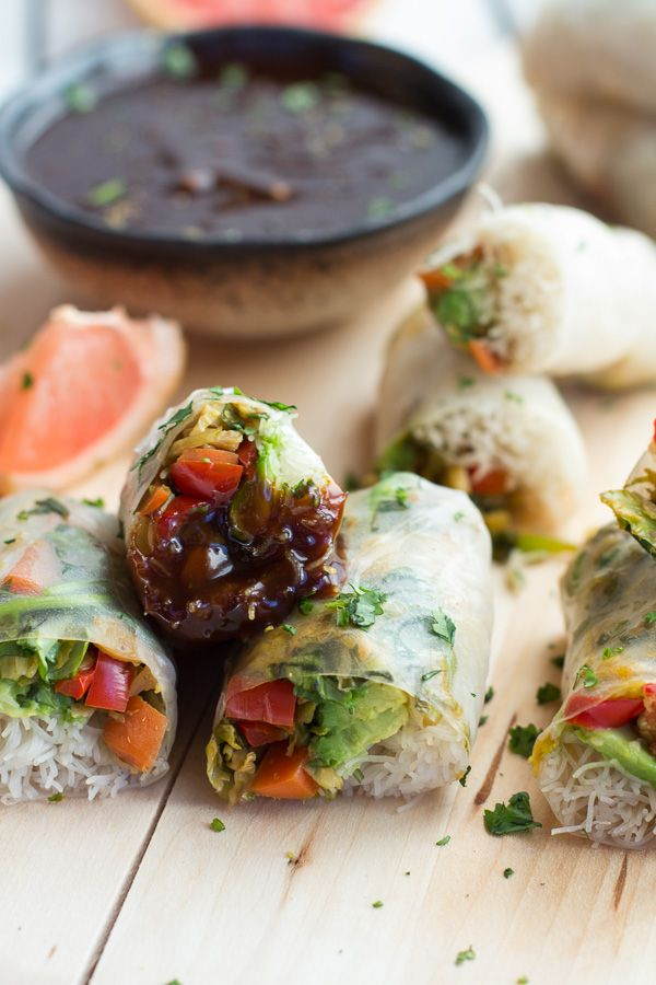 Brussels Sprout & Avocado Winter Rolls with Grapefruit Hoisin Dipping Sauce