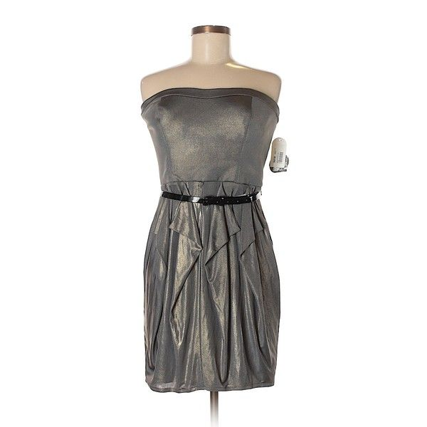 Pre-owned Jessica Simpson Cocktail Dress ($34) ❤ liked on Polyvore featuring dresses, grey, jessica simpson cocktail dresses, grey cocktail dress, grey dresses, gray cocktail dress and jessica simpson dresses
