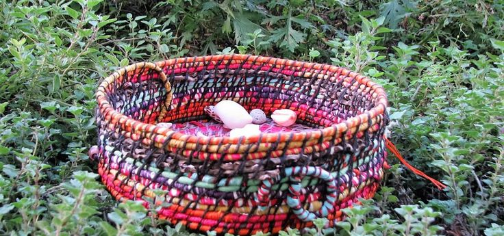 Vibrant and colourful handwoven basket I made from recycled material