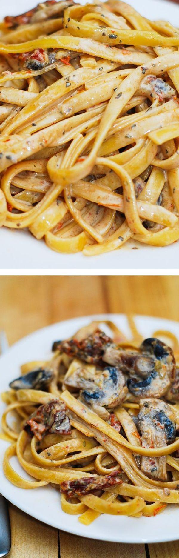 mushroom pasta in a garlic and basil sauce