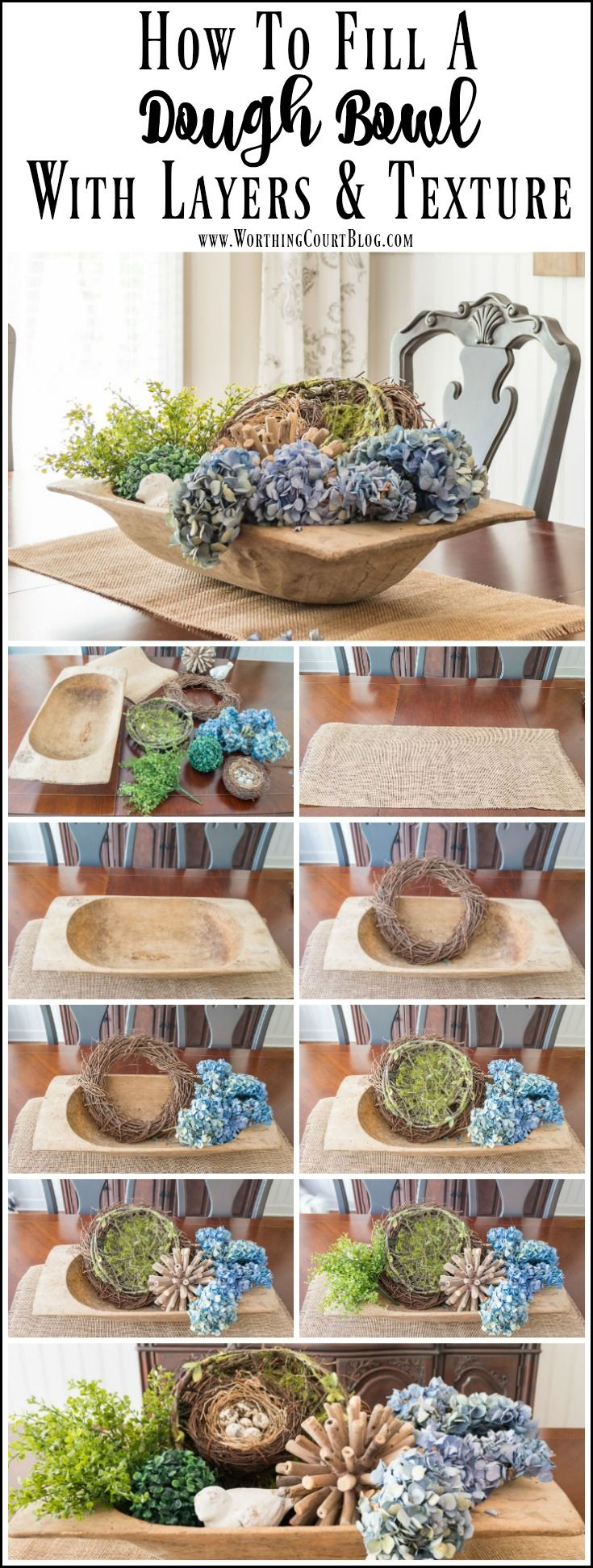 How to fill a large dough bowl with something besides candles or orbs. Step by step directions for how to fill it with layers and texture.