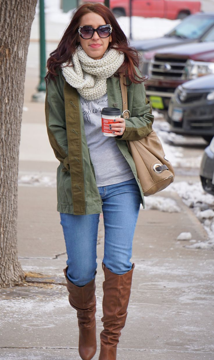 Out and about in our Lucky Brand military jacket, chucky scarf, flying monkey jeans and of course boots! Get the jacket on sale now at http://www.iboteak.com/renovation-sale/lucky-brand-military-trench/
