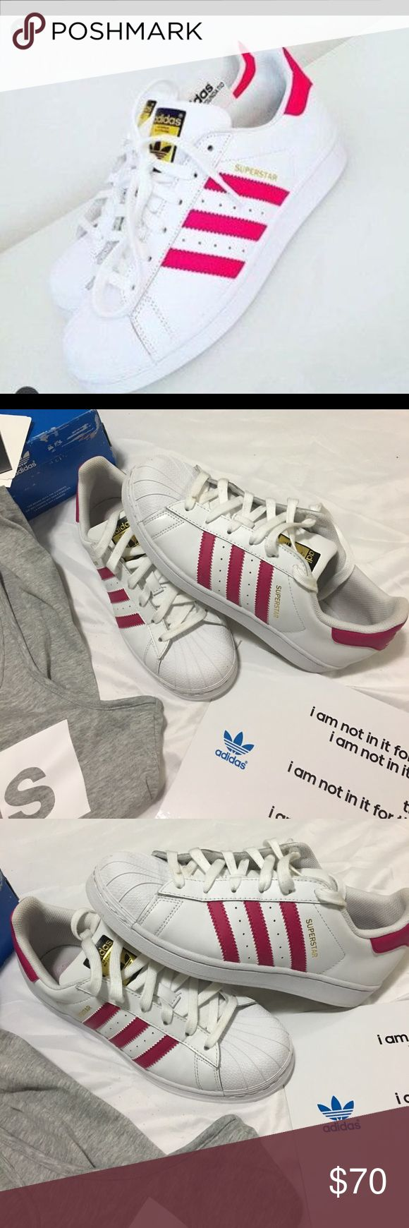 🌸🌺ADIDAS SHELL TOP SUPER STAR SNEAKERS HOT PINK HOT PINK SHELL TOPS . THE FIRST PICTURE IS JUST TO AHOW STYLE PLEASE LOOK AT ALL PICTURES BEFORE BUYING . ASK QUESTIONS. THESE ARE IN EXCELLENT CONDITION. AND THESE SHOES JUST LAST FOREVER. PLEASE ONLY SERIOUS OFFERS THESE ARE A SIZE 6 BUT FIT A 7.5 or 8 adidas Shoes Athletic Shoes