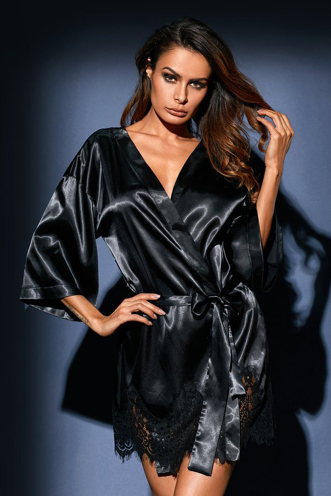 98ee021c6f Luxurious Black Satin Robe Nightwear in 2019