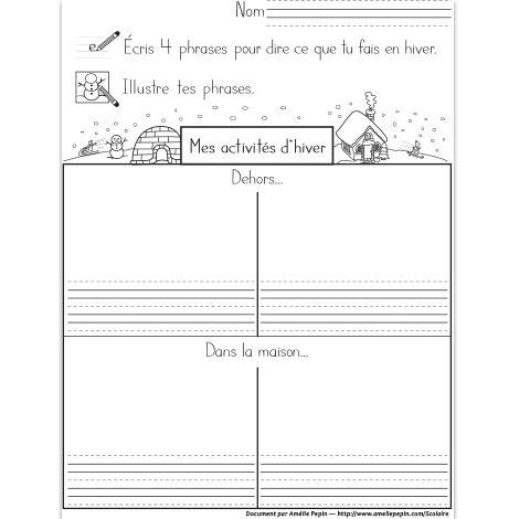 Fichier PDF téléchargeable En noir et blanc 1 page Dans cet exercice, l'élève écrit et illustre 4 activités qu'il fait en hiver.