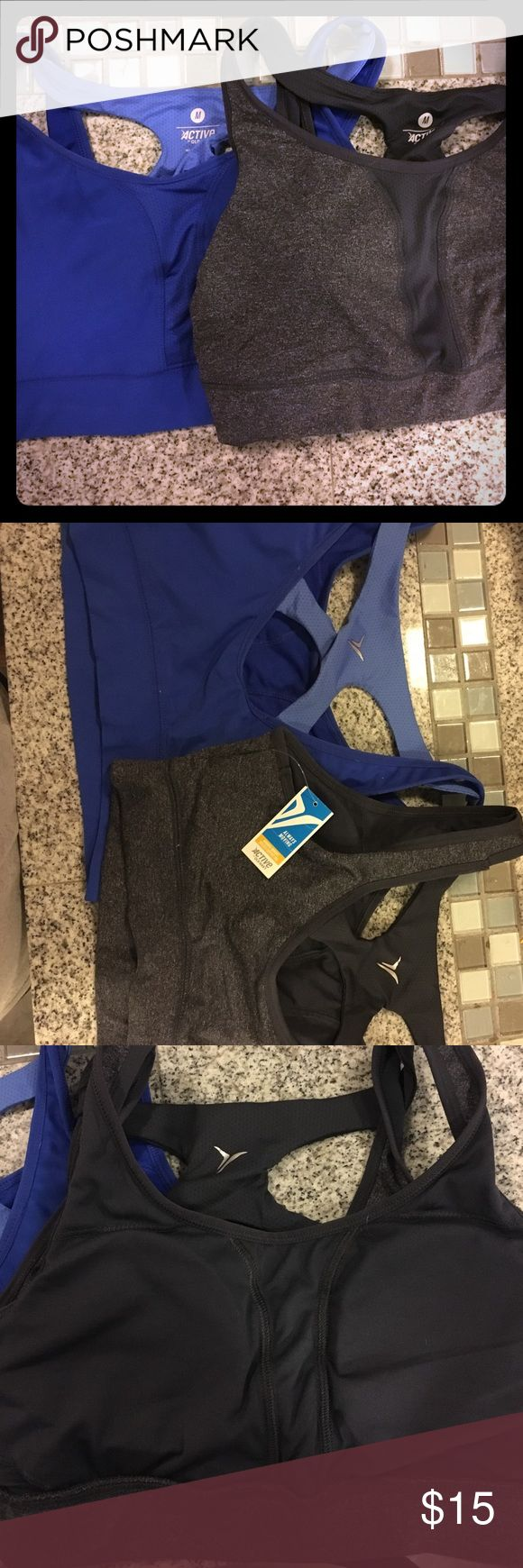 Bundle of sports bras Bundle of old navy sports bras! One dark gray and one dark blue. The gray one still has the tag on it. Both mediums. Old Navy Intimates & Sleepwear Bras