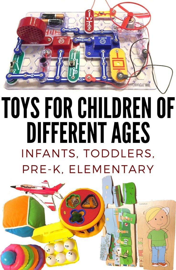 Toys for children of different ages: Infants, Toddlers, Pre-K, Elementary. #toys #educationaltoys