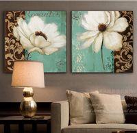 verde esmeralda y blanco flor de amapola pintura al leo en lienzo arte de la pared