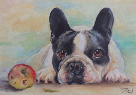 FRENCH BULLDOG PORTRAIT Original Art Dog Hand by CanisArtStudio #french #bulldog #framed #painting #dog #portrait #canisartstudio