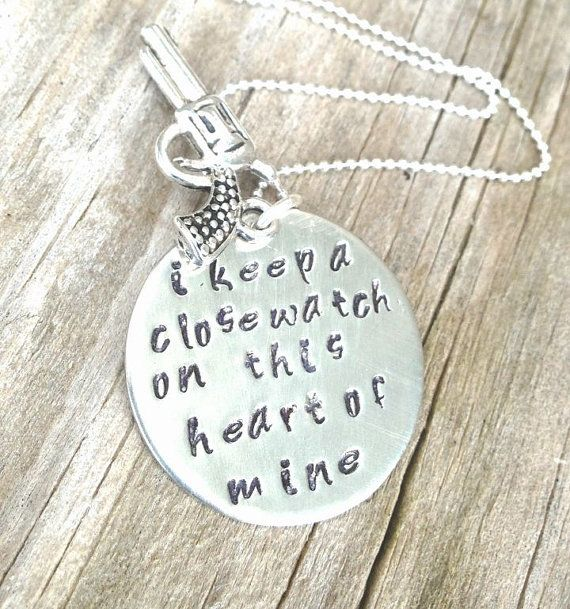 Johnny Cash Jewelry, Johnny Cash Necklace, I Keep A Close Watch, Johnny Cash gold or silver, Personalized Hand Stamped Jewelry