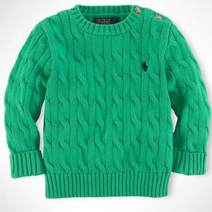 Image of Ralph Lauren Infant Boys Classic Cable-Knit Crewneck Blouse