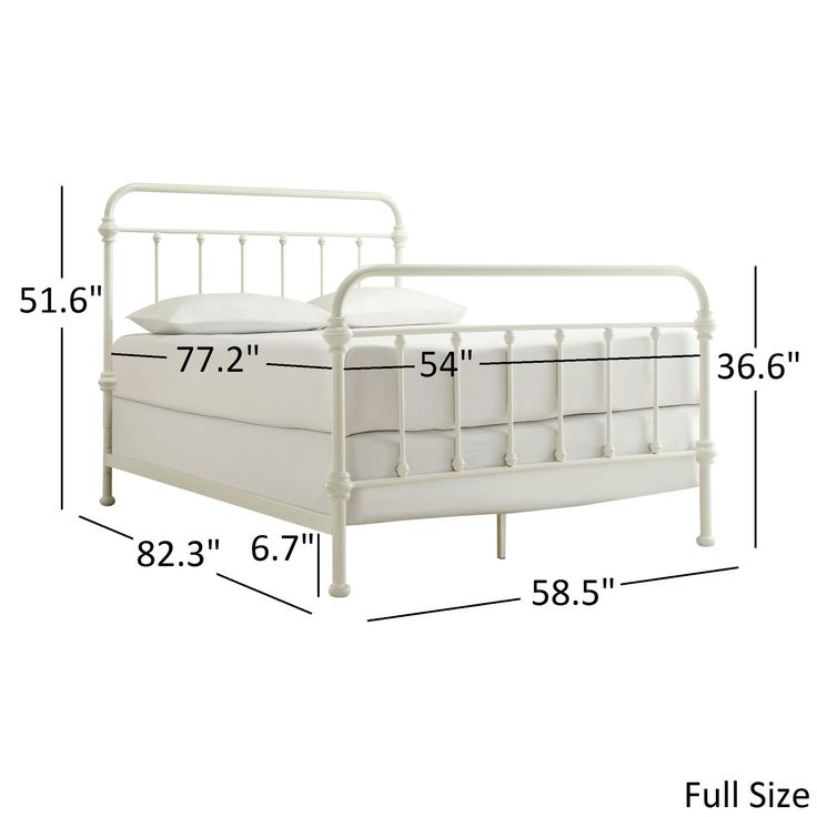 Giselle Antique White Graceful Lines Victorian Iron Metal Bed by Tribecca Home (Giselle Full Size Metal Bed)