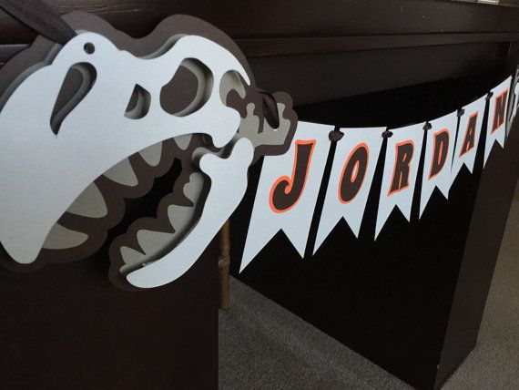 Fosil Dinosaur Birthday Party Name Banner Room by DivaDecorations