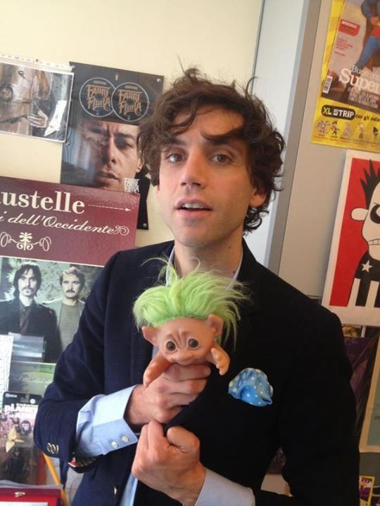 Mika at La Repubblica XL 2012, with a troll doll xD