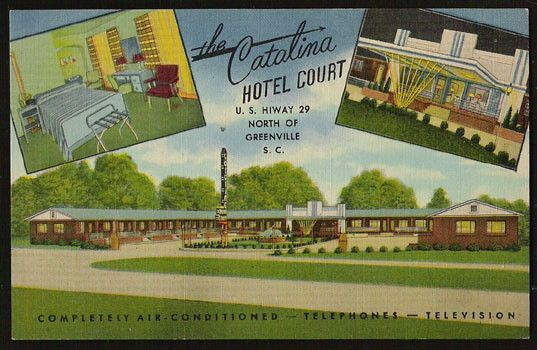 Catalina Hotel Court South Carolina Postcard Roadside Hwy29